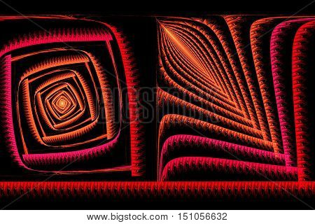 Abstract Square Fractal Red And Orange On Black