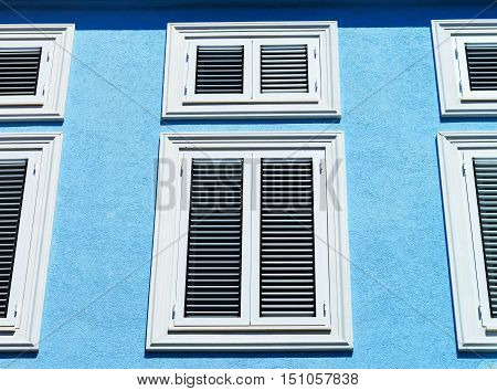 Window With Shutters Closeup View, Sunny Day On Sea Resort