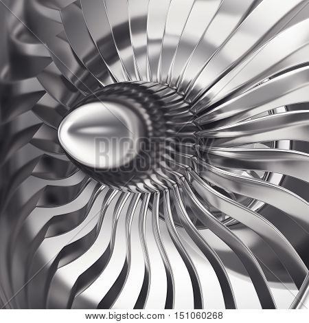Turbo-jet engine of the plane, close up. 3d rendering.