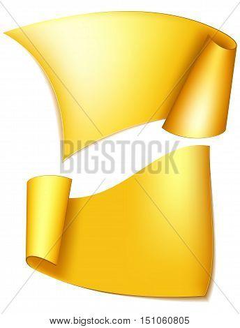 Big gold ribbon. Realistic curling ribbon. Vector illustration
