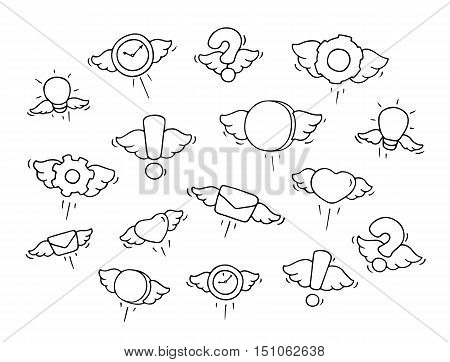 Set of flying objects. Doodle cute symbols. Hand drawn cartoon vector illustration for business and kid design.
