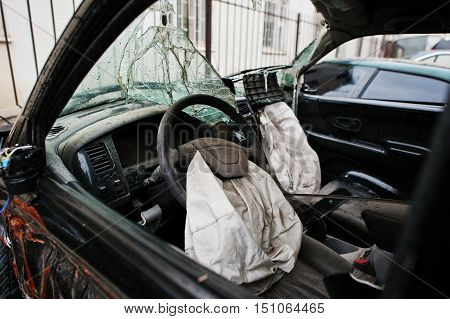 Car After Accident. Car Interior With Airbag After Crash