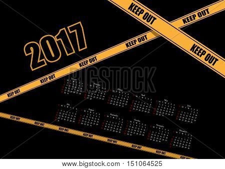 Abstract vector calendar 2017 with prohibitory inscriptions .