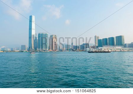 Hongkong Business Center District At Victoria Harbour