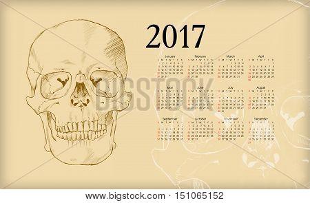 Calendar 2017. The human skull. Vector illustration