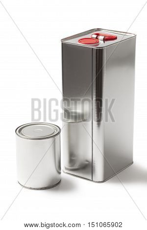 Two different kind and sizes metallic cans for paint and chemical products on white with a clipping path.