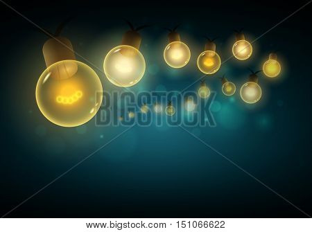 Old style warm bulbs hanging on the bokeh night background. Vector illustration. Copy space. Ideal for christmas, new year, ramadan or all festive holidays.