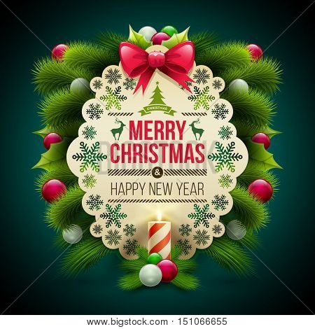 Christmas and new year greeting message card with ornaments. Vector Christmas design template.