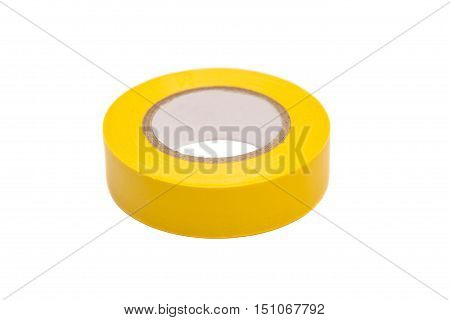 roll of yellow duct tape on a white background.