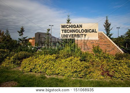 Houghton, Michigan, USA -  October 4, 2016: The campus of Michigan Technological University in Michigan's Upper Peninsula. The college specializes in programs for technology, engineering and science.