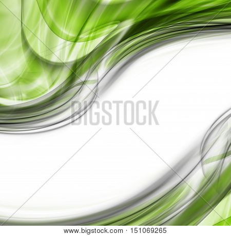 Abstract Green Gray White Background. Abstraction Modern Waved