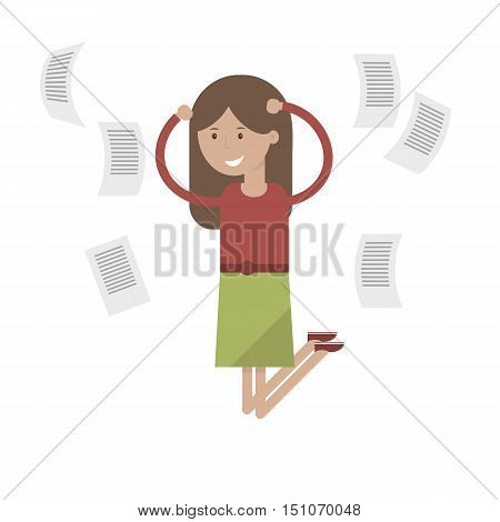Girl jumps with joy. Young woman jumping celebrating victory and success. Vector illustration flat design