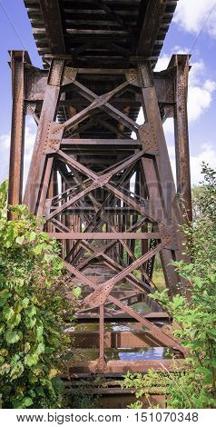 Steel girders of a train trestle, Ontario Canada