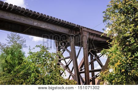 Train trestle through rural area of Ontario Canada