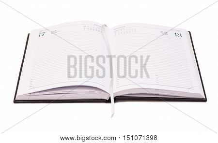 Open notebook isolated on white background .
