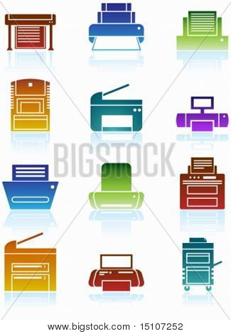 Printer Colorful Icon Set : Set of printing device themed buttons in a minimal style.