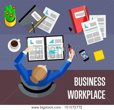 Top view business workplace, vector illustration. Overhead view of businesswoman working with financial documents at office desk. Business people background. Workspace banner in flat style.