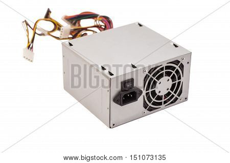 Old computer Power Supply On White Background.