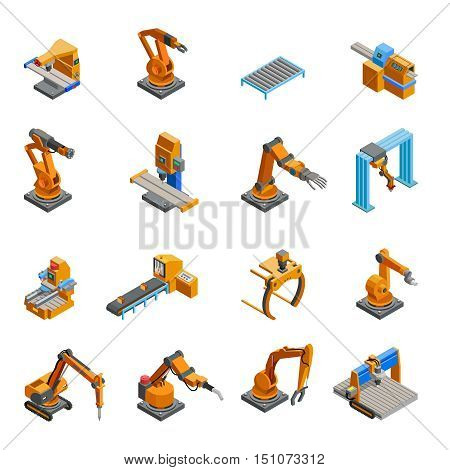 Remotely controlled programmable robotic mechanical arms samples in automation industry isometric icons collection abstract isolated vector illustration
