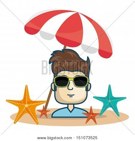 avatar man wearing sunglasses with parasol and colorful seastars. vector illustration