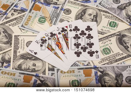 playing cards on dollars money us currency