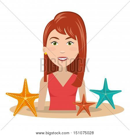 avatar woman smiling with colorful seastars. summer vacations design. vector illustration