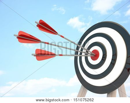 Target and three arrows abstract success (done in 3d rendering)