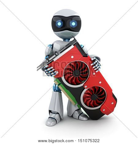Robot and video card (done in 3d rendering)