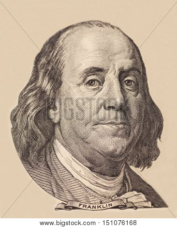 Portrait of U.S. president Benjamin Franklin .