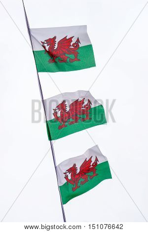 String of three welsh flag pennants against white background