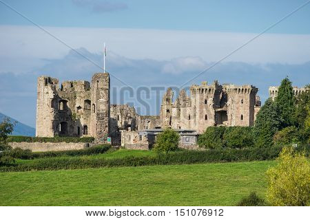Raglan Castle a medieval castle in Monmouthshire Wales UK reduced to ruins during the English Civil War