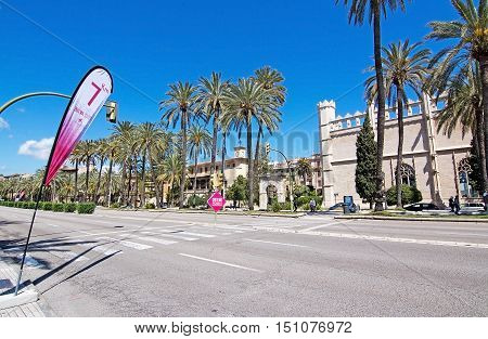 PALMA DE MALLORCA BALEARIC ISLANDS SPAIN - APRIL 10 2016: Paseo Maritimo empty of people at the Women's marathon on Paseo Maritimo in Palma de Mallorca Balearic islands Spain on April 10 2016.