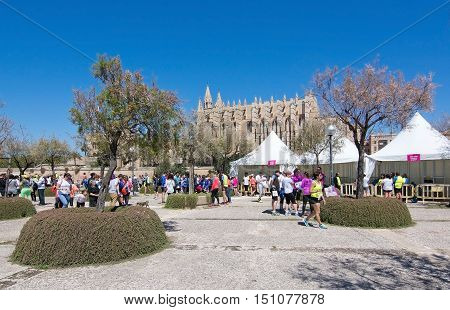 PALMA DE MALLORCA BALEARIC ISLANDS SPAIN - APRIL 10 2016: Competitors and La Seu cathedral at Women's marathon in Palma de Mallorca Balearic islands Spain on April 10 2016.