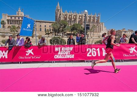 PALMA DE MALLORCA BALEARIC ISLANDS SPAIN - APRIL 10 2016: Active runners at the Women's marathon in Palma de Mallorca Balearic islands Spain on April 10 2016.