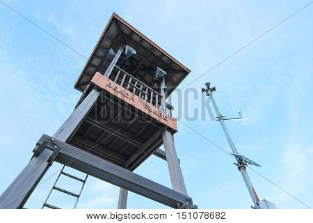 Life Guard tower and speaker tower in Rayong Thailand