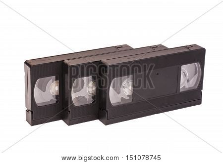 Video old cassettes isolated on white .