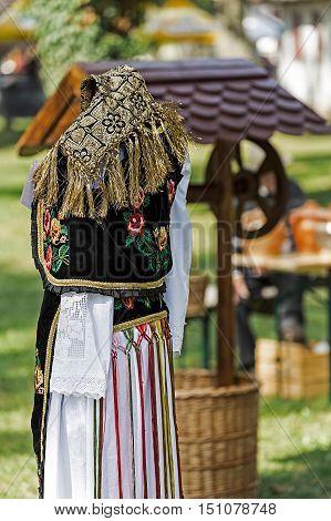 Detail of traditional Romanian folk costume worn by women from Bistrita-Nasaud area Romania.