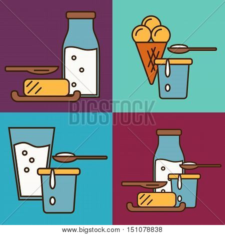 Assortment of different dairy products isolated. Traditional and healthy products. Organic farming. Natural food. Organic farmers food. Organic food and dairy product concept. Milk product icon. Cartoon dairy product. Dairy icon.