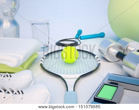 Fitness concept with water towels sneakers tennis racket tennis ball weights fitness ball jump rope and dumbbells. 3D illustration