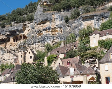 ancient prehistoric settlement in caves in the mountains near the river Dordogne