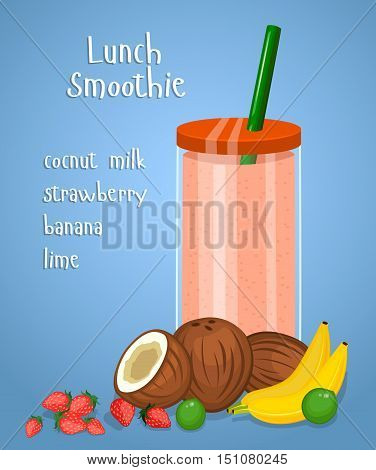 Lunch smoothie. Blended fresh fruity drink in glass with straw from banana, cocnut milk, strawberry, lime fruit vector illustration on blue background. Healthy vegetarian breakfast. Diet food menus. Milk shake or milk coctail.