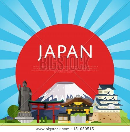 Travel Japan concept with Japan landmarks vector. Adventure in Asia. Japan mountain Fuji. Famous Japan travel places. Explore Japan landmarks. Discover Japan and Japanese culture. Oriental landmarks. Japan art.