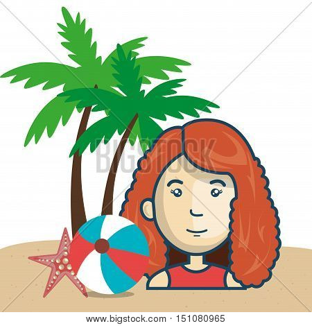 avatar woman smiling with water ball and seastar over beach background. vector illustration