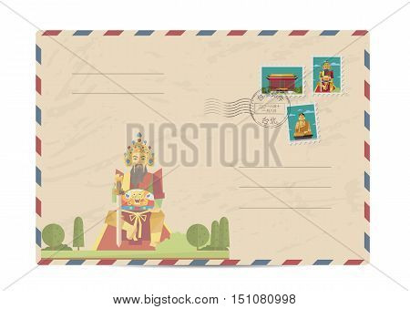 Taiwan vintage postal envelope with postage stamps and postmark vector illustration. Taiwanese ancient god statue landmark. Taiwanese air mail stamp. Taiwanese postal services. Envelope delivery. Travel on Taiwan concept. Explore Taiwan. Greetings from Ta
