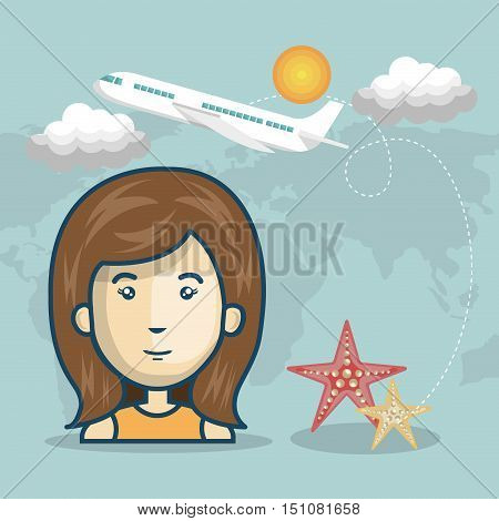 avatar woman smiling with red and yellow seastars and airplane flying over world map background. vector illustration