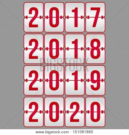 Happy New Year 2017 2018 2019 2020 Scoreboard red and grey gradient vector symbols set