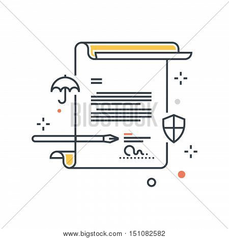 Color Line, Contract Policy Insuranceconcept Illustration, Icon