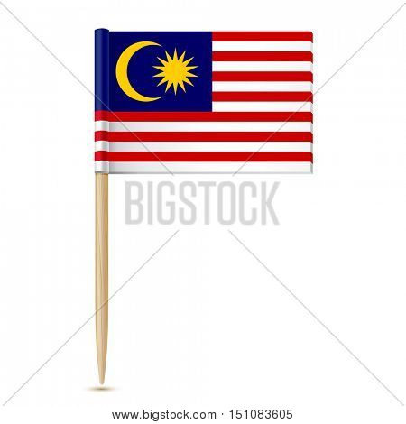 Flag of Malaysia toothpick on white background 10eps