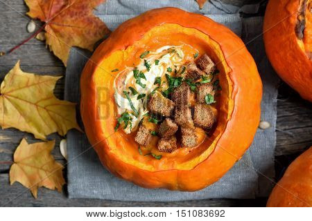The Pumpkin soup country style top view