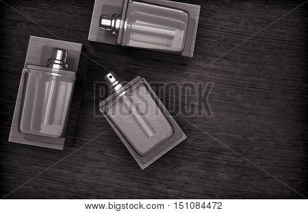 Perfume bottles on the wooden background. 3D illustration